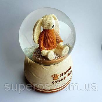 Снігова куля c автоснегом і підсвічуванням Happy bunny