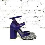 Туфли-деленки из текстиля с глиттером и натуральной кожи, каблук 8см, цвет фиолет, в наличии размер 37, фото 3