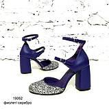 Туфли-деленки из текстиля с глиттером и натуральной кожи, каблук 8см, цвет фиолет, в наличии размер 37, фото 2