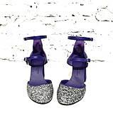 Туфли-деленки из текстиля с глиттером и натуральной кожи, каблук 8см, цвет фиолет, в наличии размер 37, фото 4