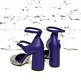 Туфли-деленки из текстиля с глиттером и натуральной кожи, каблук 8см, цвет фиолет, в наличии размер 37, фото 5