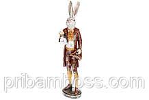 Декоративная фигура Белый кролик с часами и шляпой 74.5см, цвет - бордо с золотом