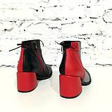Ботинки с контрастной молнией, каблук 6см, цвет черный/ серый/ красный, фото 4