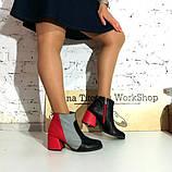 Ботинки с контрастной молнией, каблук 6см, цвет черный/ серый/ красный, фото 6
