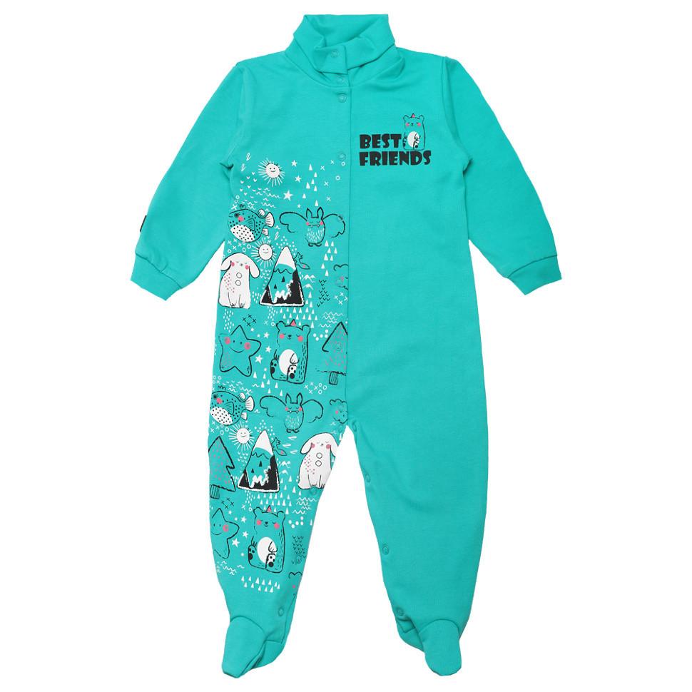 Человечек для новорожденных KB-19-27-2 *Друзья* (Цвет: ментоловый) Размер 74