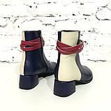 Кожаные ботинки с плетеной косой вокруг лодыжки, цвет темно-синий/ беж/ красная груша, фото 4
