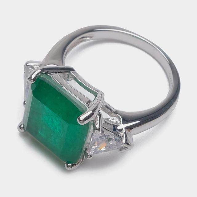Кольцо - Крупный изумруд Зеленое, 19,5