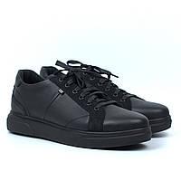 Мужские кроссовки зимние кожаные кеды черные обувь больших размеров Rosso Avangard Puran Autumn Night Black