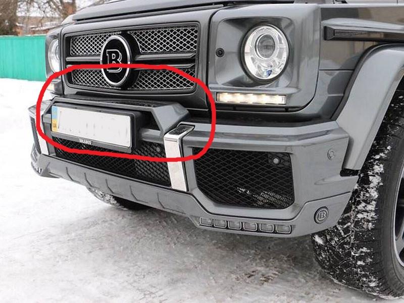 """Накладка на передний бампер """"домик"""" для Mercedes G-class W463 стиль Brabus (ABS-пластик)"""