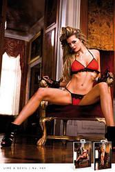 Комплект Red-Black Frilled Bikini Set