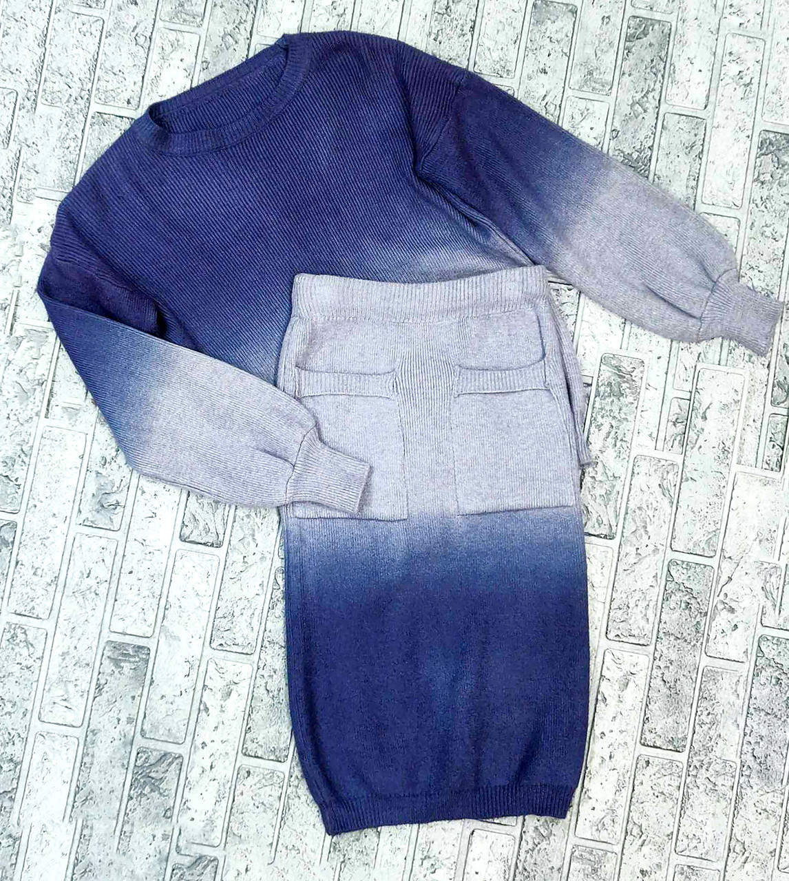 Красивый костюм джемпер+юбка омбре (42-44)