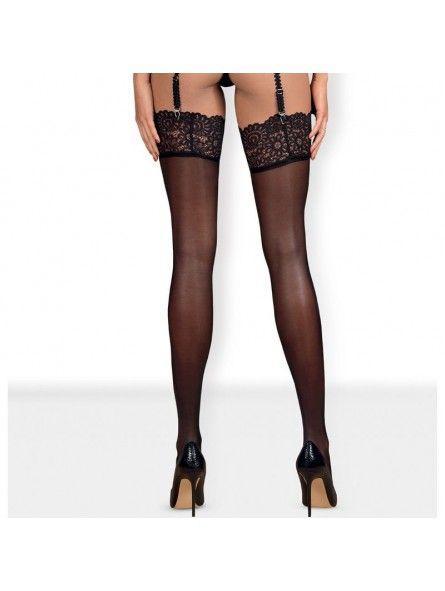 Чулки черный Obsessive Mixty stockings black S/M
