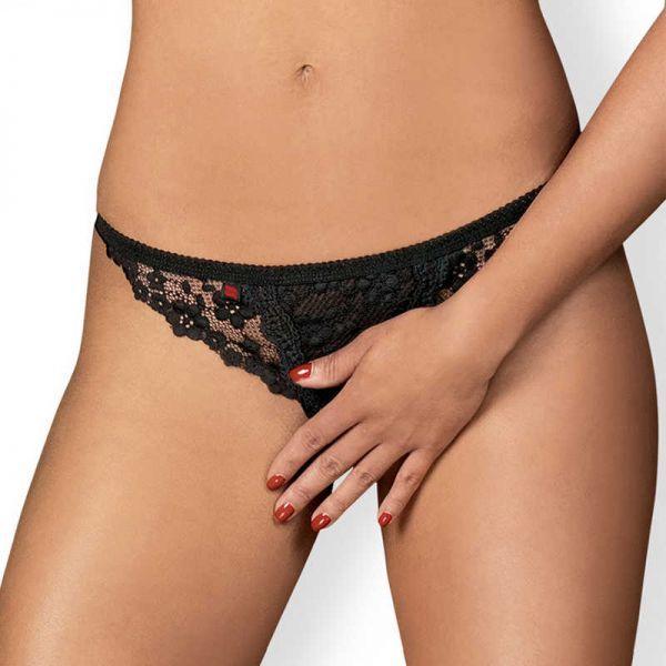 Стринги с интимным вырезом Obsessive Letica crotchless thong black S/M