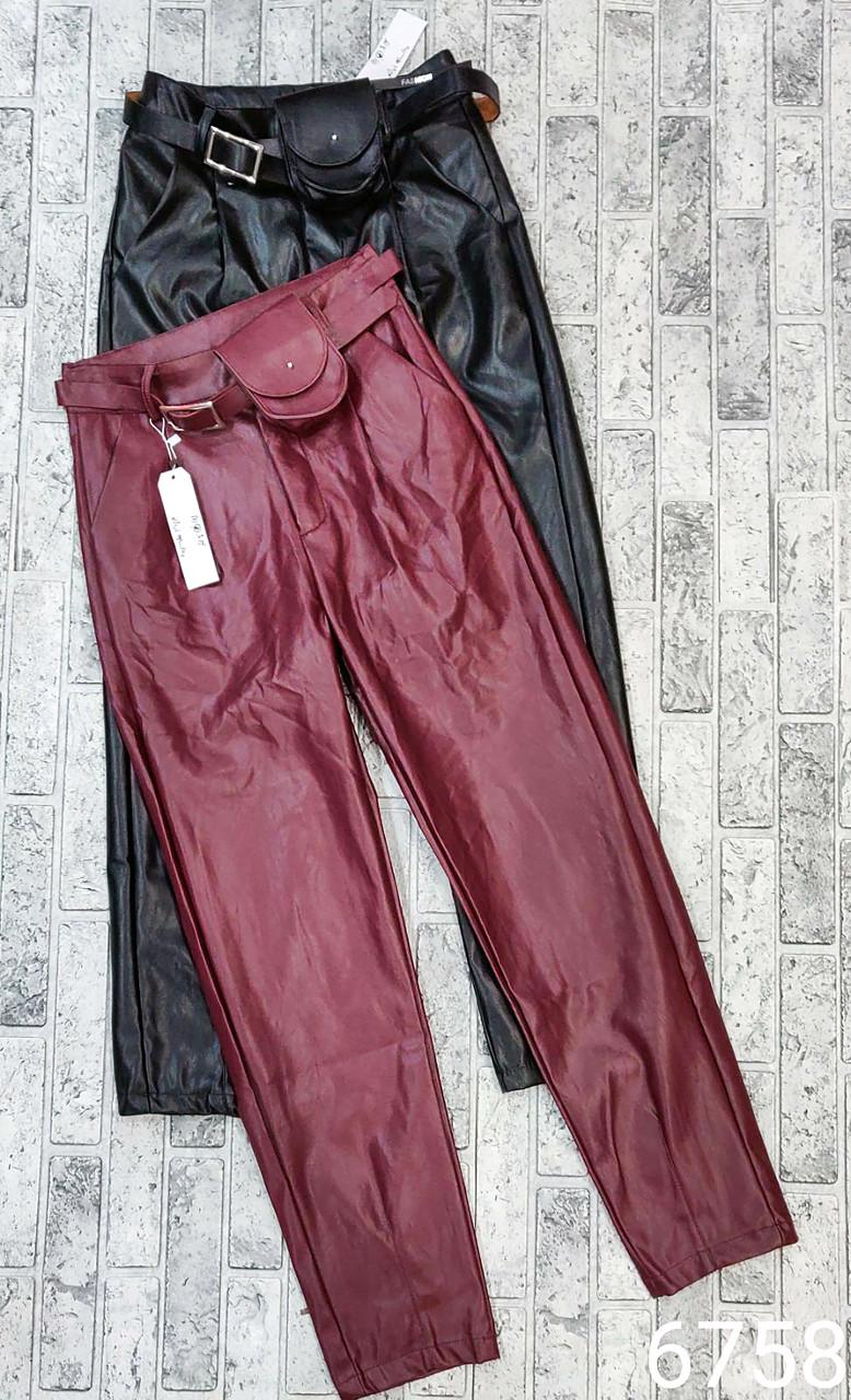 Женские кожаные брюки с модным поясом (M-XL)