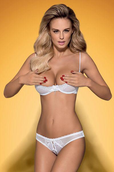 Комплект открытая грудь Obsessive ALABASTRA Set L/XL белый