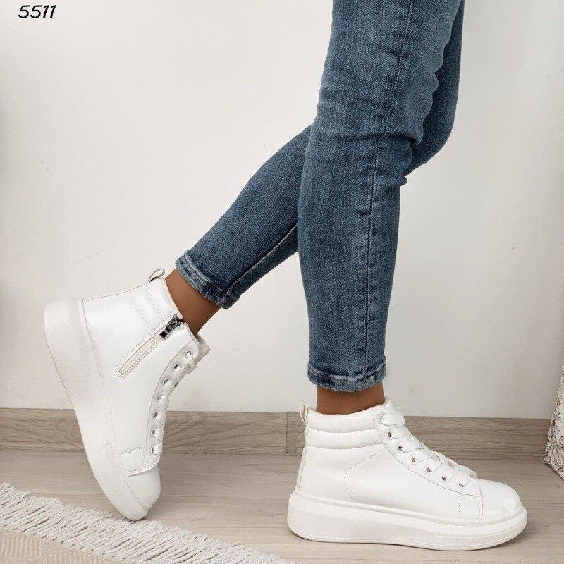 Высокие кроссовочки цвет белый эко кожа 36-41р, 5511