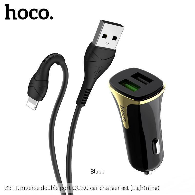 Адаптер Автомобільний HOCO Lightning Cable Universe Z31  2USB, QC3.0, 3.4A, 18W 