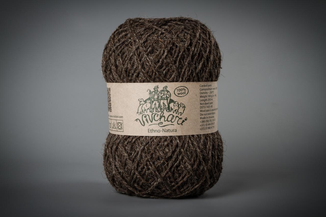 Пряжа шерстяная Vivchari Ethno-Natura 250, Color No.205 натуральный темно-коричневый