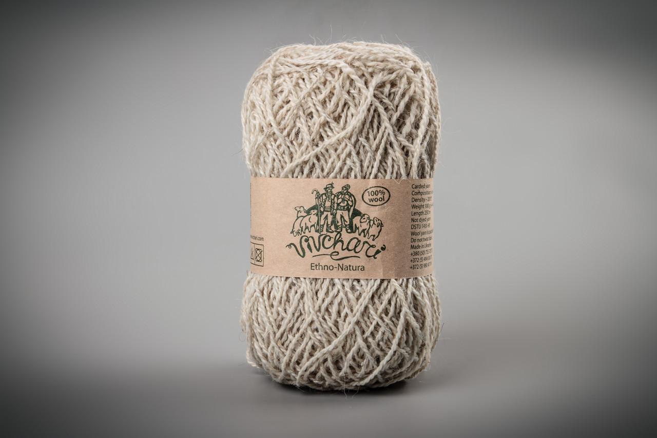 Пряжа шерстяная Vivchari Ethno-Natura 250, Color No.206 натуральный светло-серый