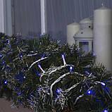 Новогодняя уличная гирлянда 100 LED, 10 м, белый каучук 3,3 мм, синий + Flash, фото 2
