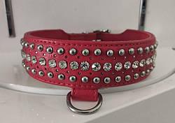 Ошейник Leather Rivet & Crystal, Red
