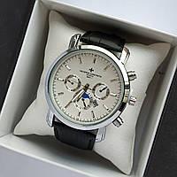 Мужские наручные часы Vacheron Constantin на кожаном ремешке - серебро с белым циферблатом - код 1840, фото 1