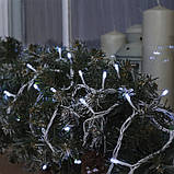Новогодняя уличная гирлянда 100 LED, 10 м, белый каучук 3,3 мм, белый + Flash, фото 2