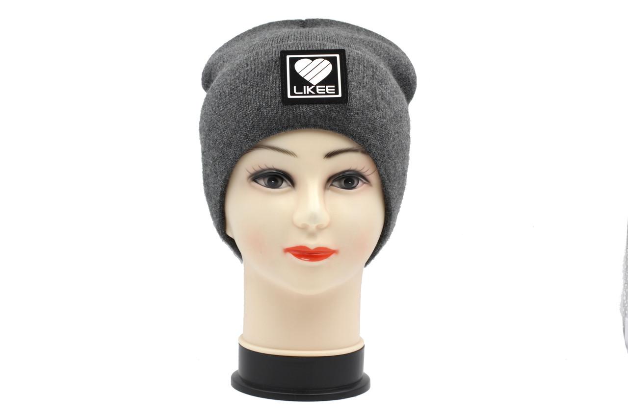 В'язана утеплена жіноча зимова шапка темно сірого кольору Likee