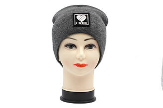 Вязаная утепленная зимняя женская шапка темно серого цвета Likee
