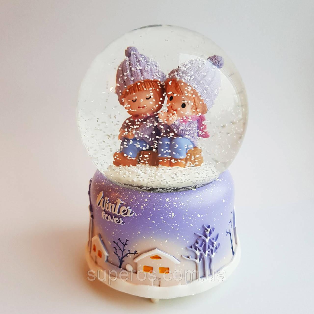 Снежный шар c автоснегом и подсветкой Winter lover №1