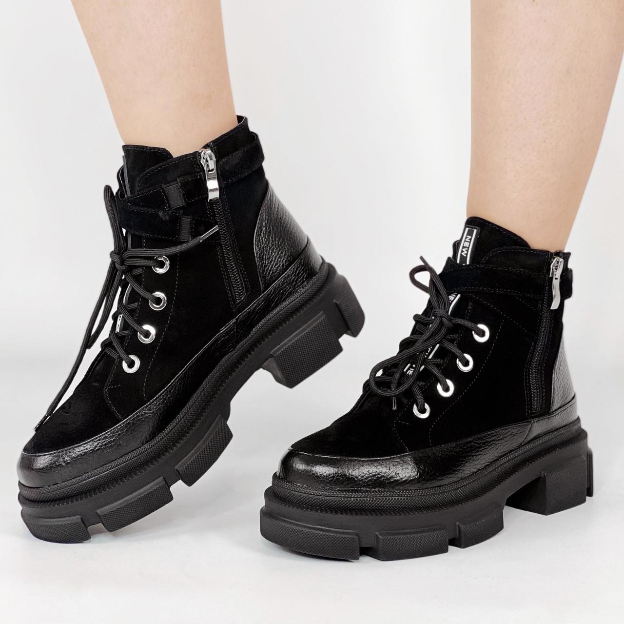 Ботинки женские замшевые короткие чёрные на шнурках MORENTO зимние