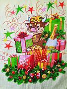 Новогоднее полотенце в подарочной коробке кухонное вафельное Бык Символ 2021, 60*45 см