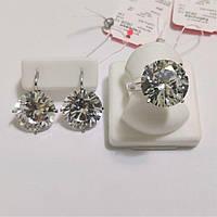 Комплект серебряный Медисон с белым камнем, фото 1