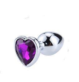 Анальная пробка Silver Heart Dark Violet, M