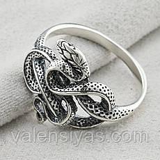 Серебряное кольцо Змея, фото 3