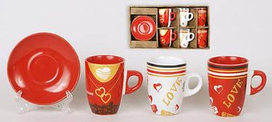 Набор кофейный: 6 чашек керамических 120мл с блюдцами в подарочной коробке