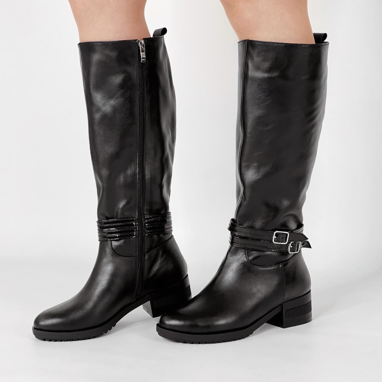 Сапоги женские кожаные черные на широкую голень на низком каблуке MORENTO зимние
