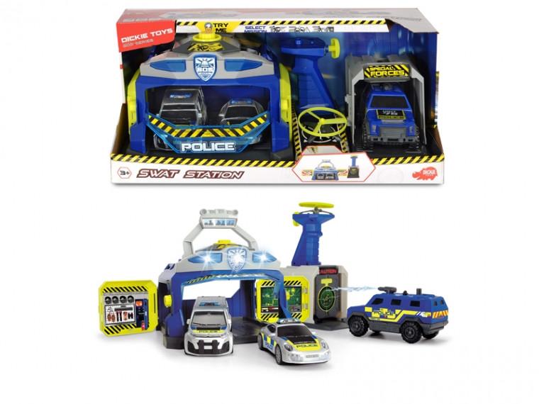 """Игровой набор """"Станция SWAT"""" с 3 машинками и пуск. дронов, со звук. и свет. эфф. 3+, Dickie Toys Swat Station"""