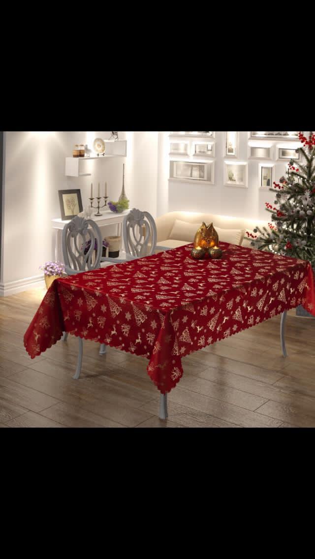 Скатерть Тканевая Красная Новогодняя 160х220 см Турция