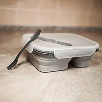 Силиконовый складной контейнер. Цвет серый, в комплектации судок складной, крышка, ложко-вилка