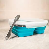 Силиконовый складной контейнер для первых и вторых блюд всегда с собой. Цвет синий, в комплекте ложка - вилка