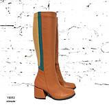 Сапоги облегающие по ноге с декоративными деталями на голени, каблук 6см, цвет коньяк, фото 2