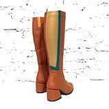 Сапоги облегающие по ноге с декоративными деталями на голени, каблук 6см, цвет коньяк, фото 4