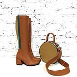 Сапоги облегающие по ноге с декоративными деталями на голени, каблук 6см, цвет коньяк, фото 5
