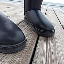 Чорні чоловічі уггі UGG еко шкіра високі черевики шкіряні чоботи зимові, фото 3