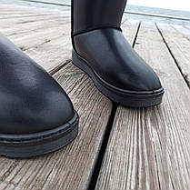 Угги черные мужские UGG эко кожа кожаные высокие ботинки сапоги зимние, фото 3