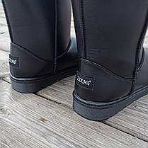 Угги черные мужские UGG эко кожа кожаные высокие ботинки сапоги зимние, фото 2