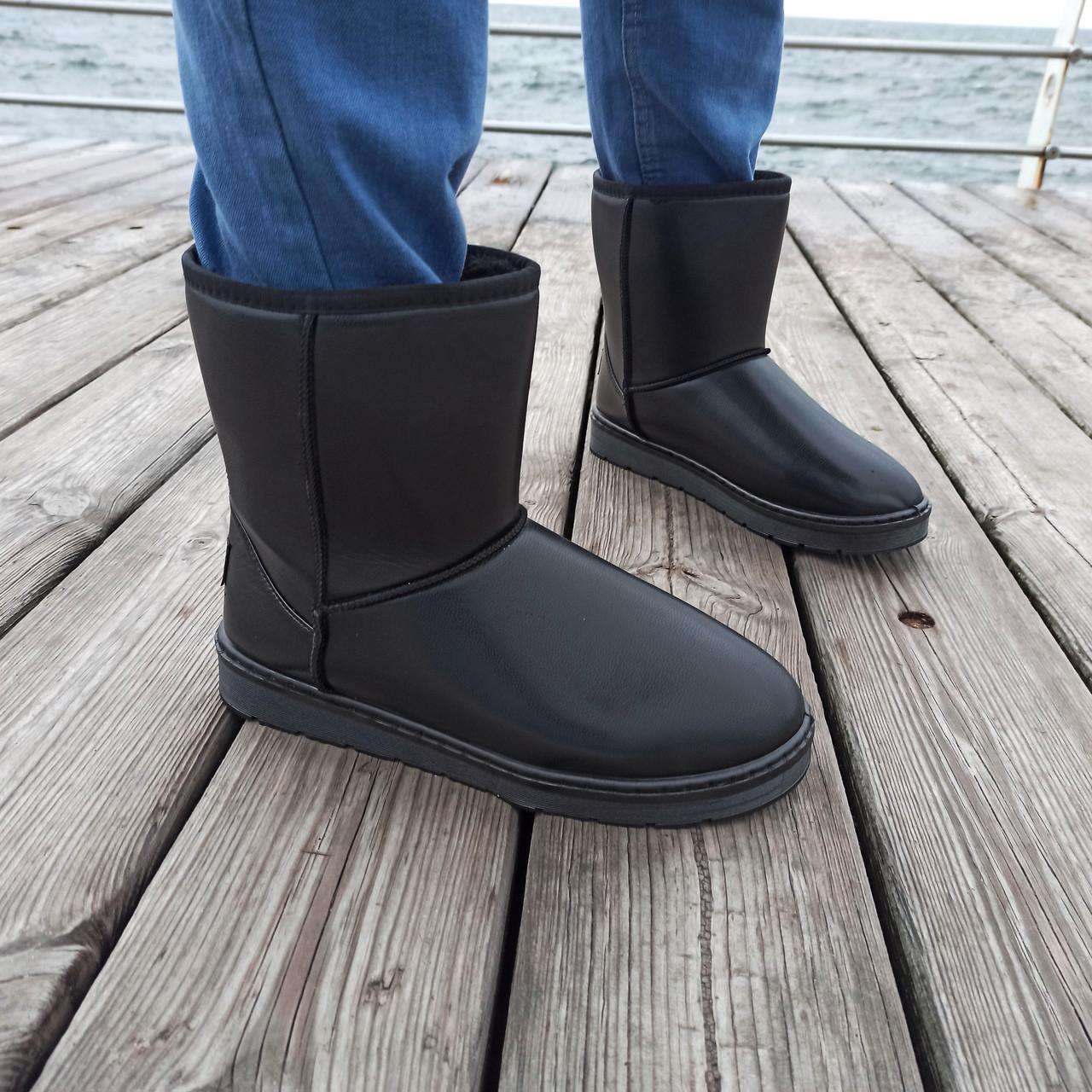 Угги черные мужские UGG эко кожа кожаные высокие ботинки сапоги зимние