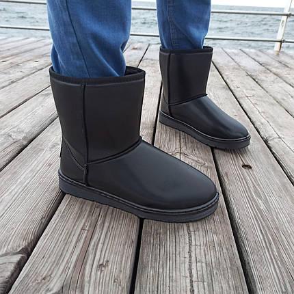 Чорні чоловічі уггі UGG еко шкіра високі черевики шкіряні чоботи зимові, фото 2
