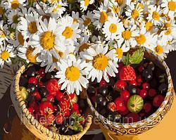 Картина по номерам 40*50 см Ромашки и ягоды